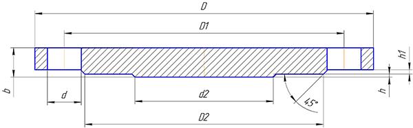 Чертеж фланца глухого стального PN16