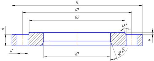 Чертеж фланца плоского стального PN10