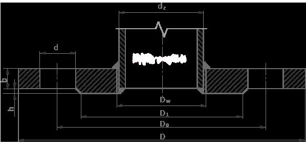 Чертеж фланца плоского стального PN16